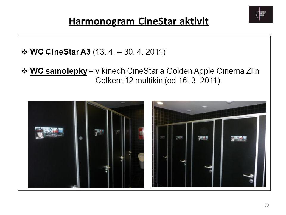 39  WC CineStar A3 (13. 4. – 30. 4. 2011)  WC samolepky – v kinech CineStar a Golden Apple Cinema Zlín Celkem 12 multikin (od 16. 3. 2011) Harmonogr