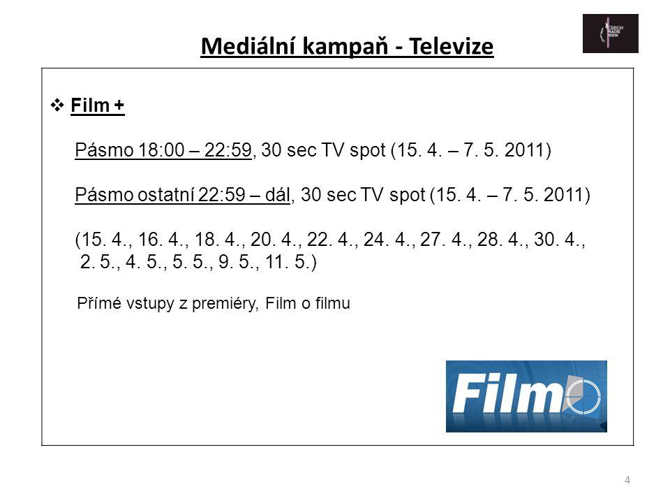 4  Film + Pásmo 18:00 – 22:59, 30 sec TV spot (15. 4. – 7. 5. 2011) Pásmo ostatní 22:59 – dál, 30 sec TV spot (15. 4. – 7. 5. 2011) (15. 4., 16. 4.,