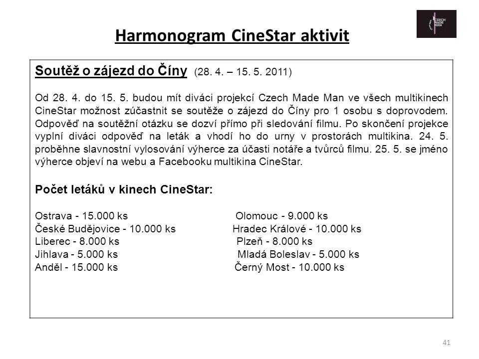 41 Soutěž o zájezd do Číny (28. 4. – 15. 5. 2011) Od 28. 4. do 15. 5. budou mít diváci projekcí Czech Made Man ve všech multikinech CineStar možnost z