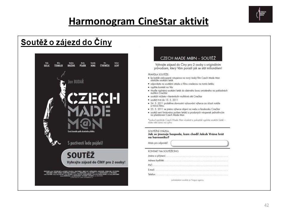 42 Soutěž o zájezd do Číny Harmonogram CineStar aktivit