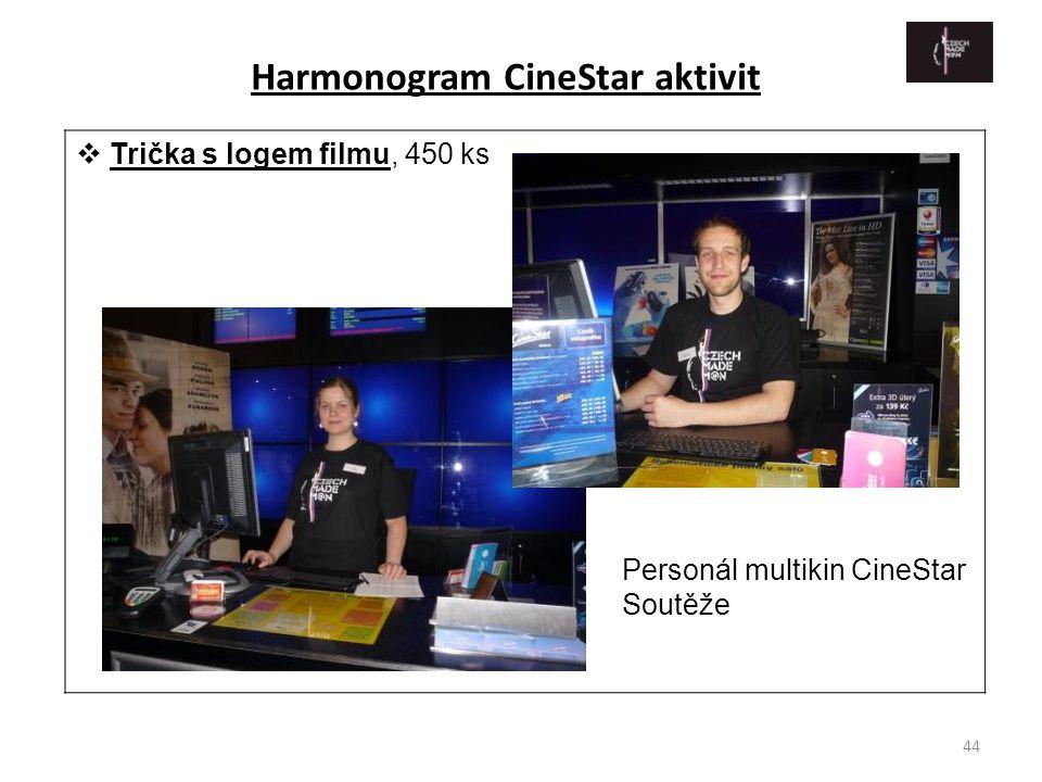 44  Trička s logem filmu, 450 ks Harmonogram CineStar aktivit Personál multikin CineStar Soutěže