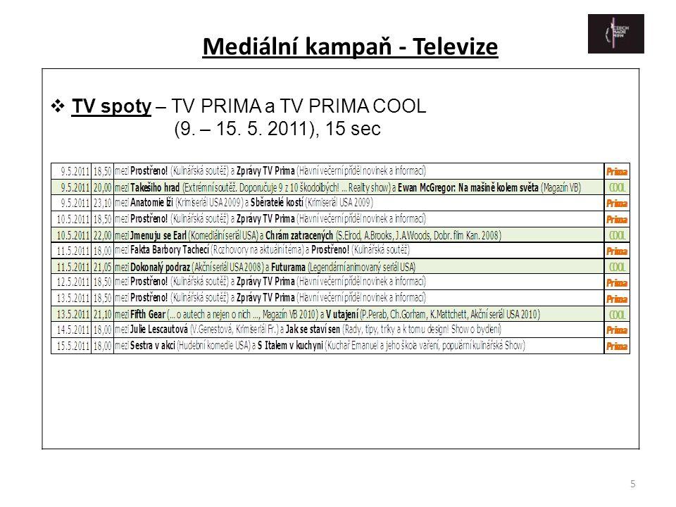 5  TV spoty – TV PRIMA a TV PRIMA COOL (9. – 15. 5. 2011), 15 sec Mediální kampaň - Televize