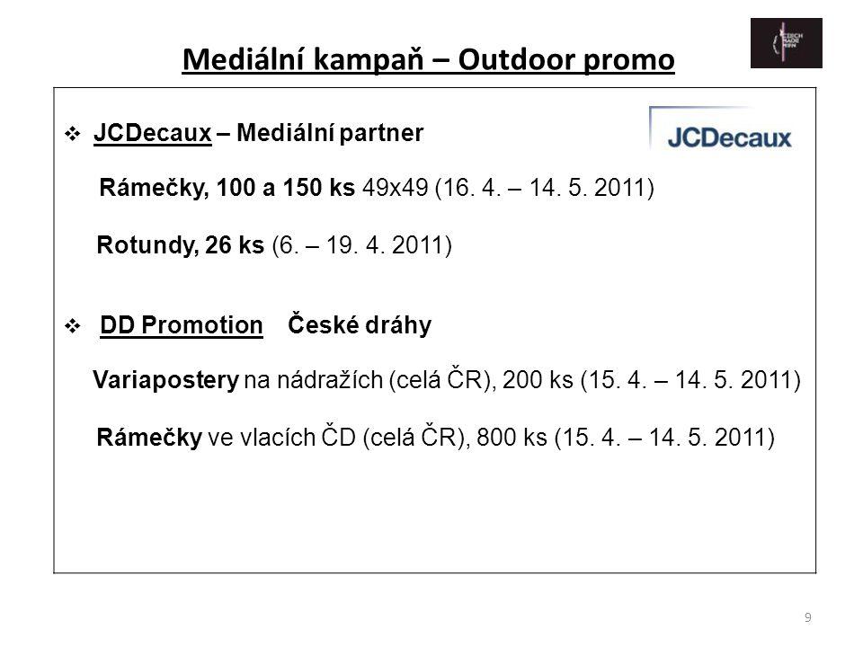 9  JCDecaux – Mediální partner Rámečky, 100 a 150 ks 49x49 (16. 4. – 14. 5. 2011) Rotundy, 26 ks (6. – 19. 4. 2011)  DD Promotion České dráhy Variap