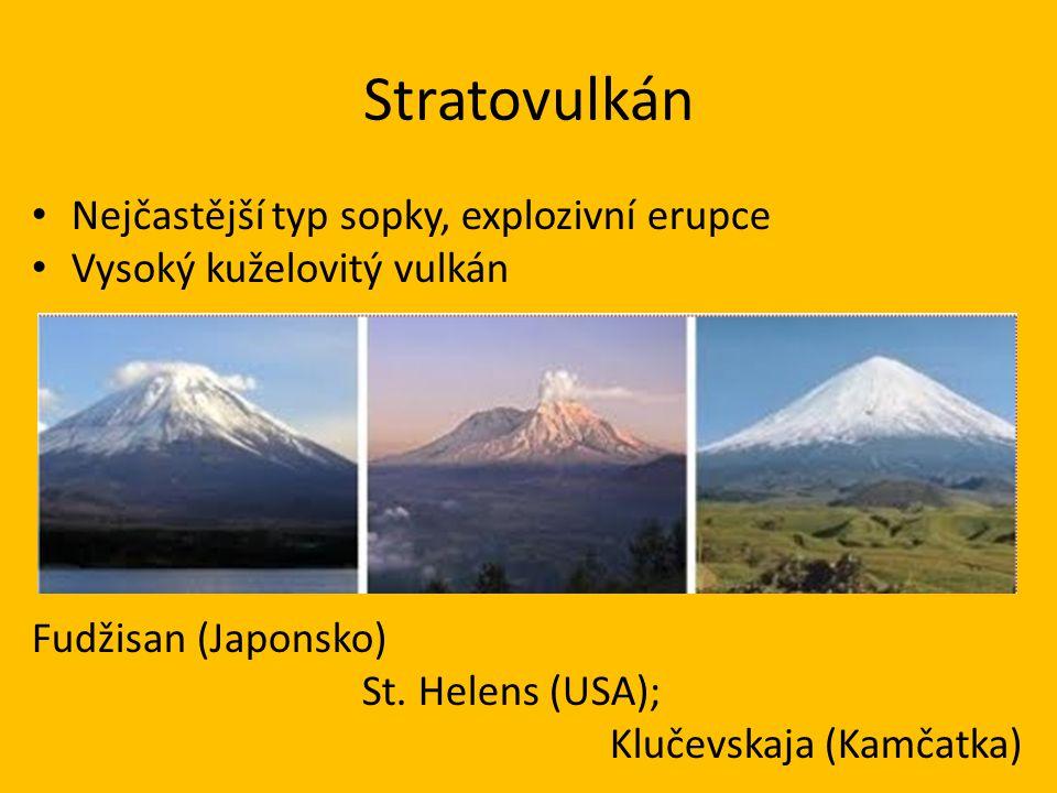 Stratovulkán • Nejčastější typ sopky, explozivní erupce • Vysoký kuželovitý vulkán Fudžisan (Japonsko) St. Helens (USA); Klučevskaja (Kamčatka)