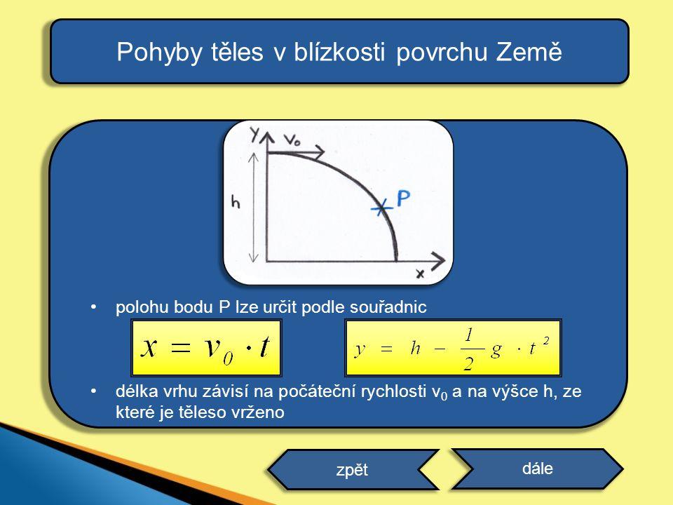 •polohu bodu P lze určit podle souřadnic •délka vrhu závisí na počáteční rychlosti v 0 a na výšce h, ze které je těleso vrženo Pohyby těles v blízkost