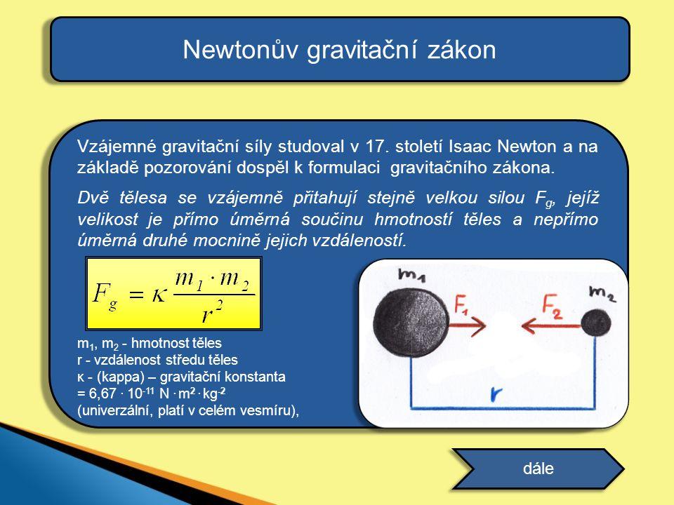 Vzájemné gravitační síly studoval v 17. století Isaac Newton a na základě pozorování dospěl k formulaci gravitačního zákona. Dvě tělesa se vzájemně př