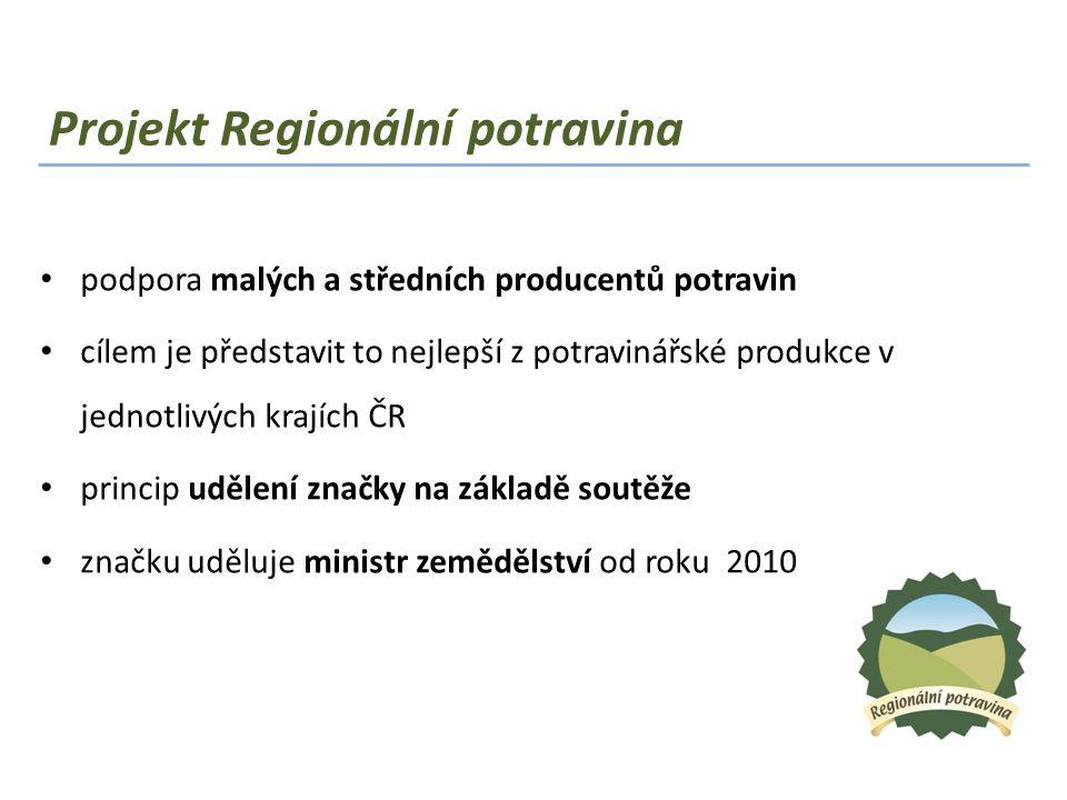 Projekt Regionální potravina • podpora malých a středních producentů potravin • cílem je představit to nejlepší z potravinářské produkce v jednotlivýc