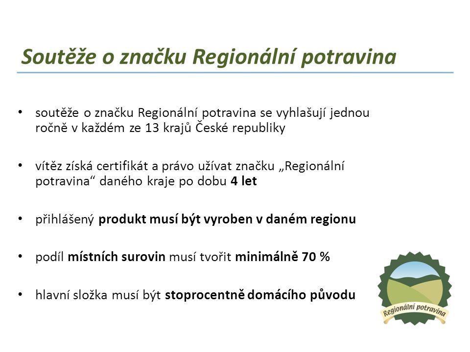 Soutěže o značku Regionální potravina • soutěže o značku Regionální potravina se vyhlašují jednou ročně v každém ze 13 krajů České republiky • vítěz z