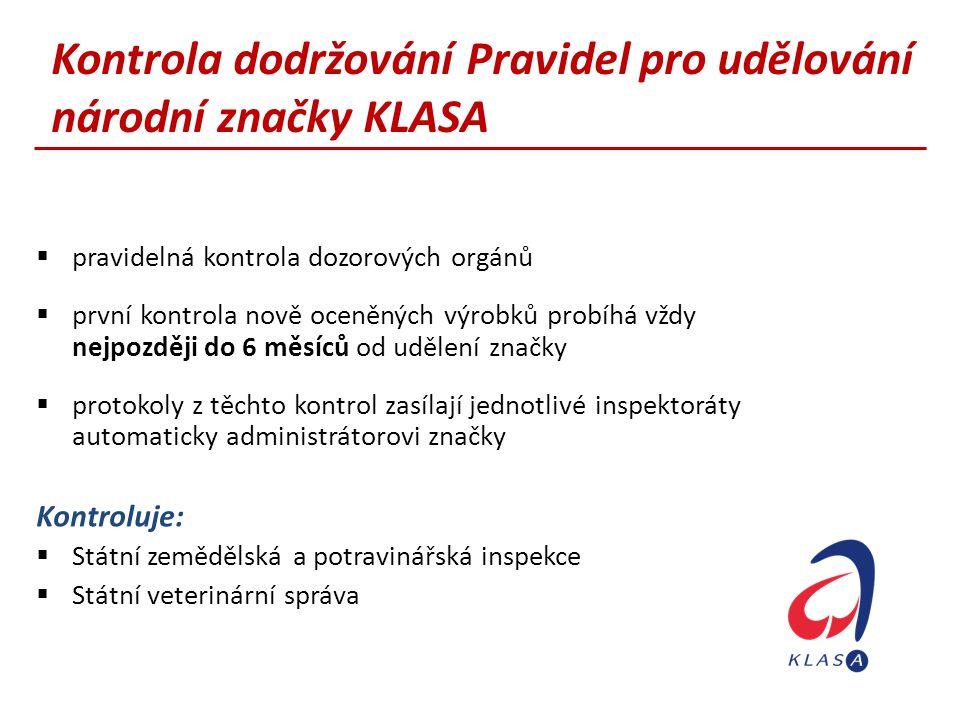 Kontrola dodržování Pravidel pro udělování národní značky KLASA  pravidelná kontrola dozorových orgánů  první kontrola nově oceněných výrobků probíh