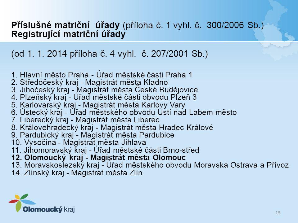 Příslušné matriční úřady (příloha č. 1 vyhl. č. 300/2006 Sb.) Registrující matriční úřady (od 1. 1. 2014 příloha č. 4 vyhl. č. 207/2001 Sb.) 1. Hlavní