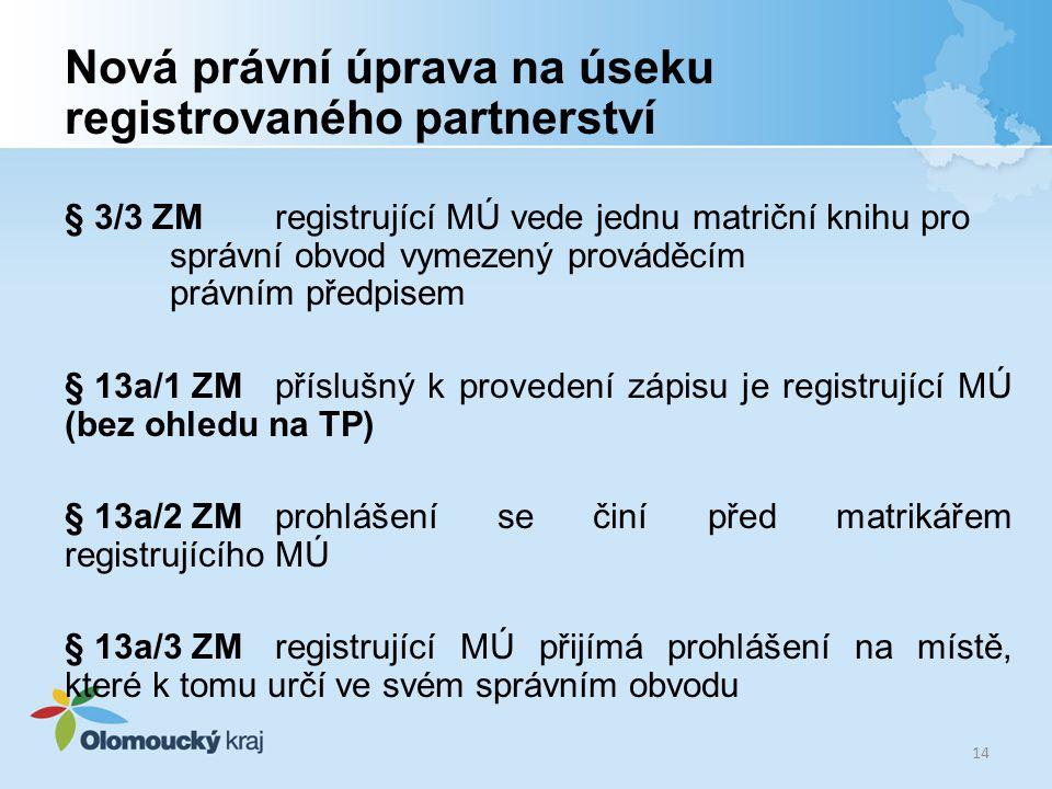Nová právní úprava na úseku registrovaného partnerství § 3/3 ZM registrující MÚ vede jednu matriční knihu pro správní obvod vymezený prováděcím právní