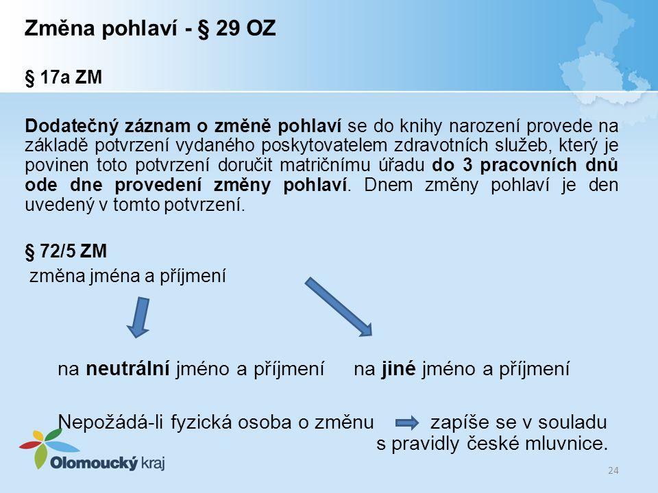 Změna pohlaví - § 29 OZ § 17a ZM Dodatečný záznam o změně pohlaví se do knihy narození provede na základě potvrzení vydaného poskytovatelem zdravotníc