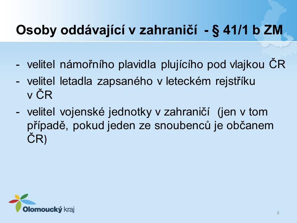 Osoby oddávající v zahraničí - § 41/1 b ZM -velitel námořního plavidla plujícího pod vlajkou ČR -velitel letadla zapsaného v leteckém rejstříku v ČR -