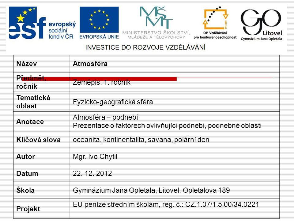 ATMOSFÉRA podnebí Chytil Ivo Obrázek č. 1