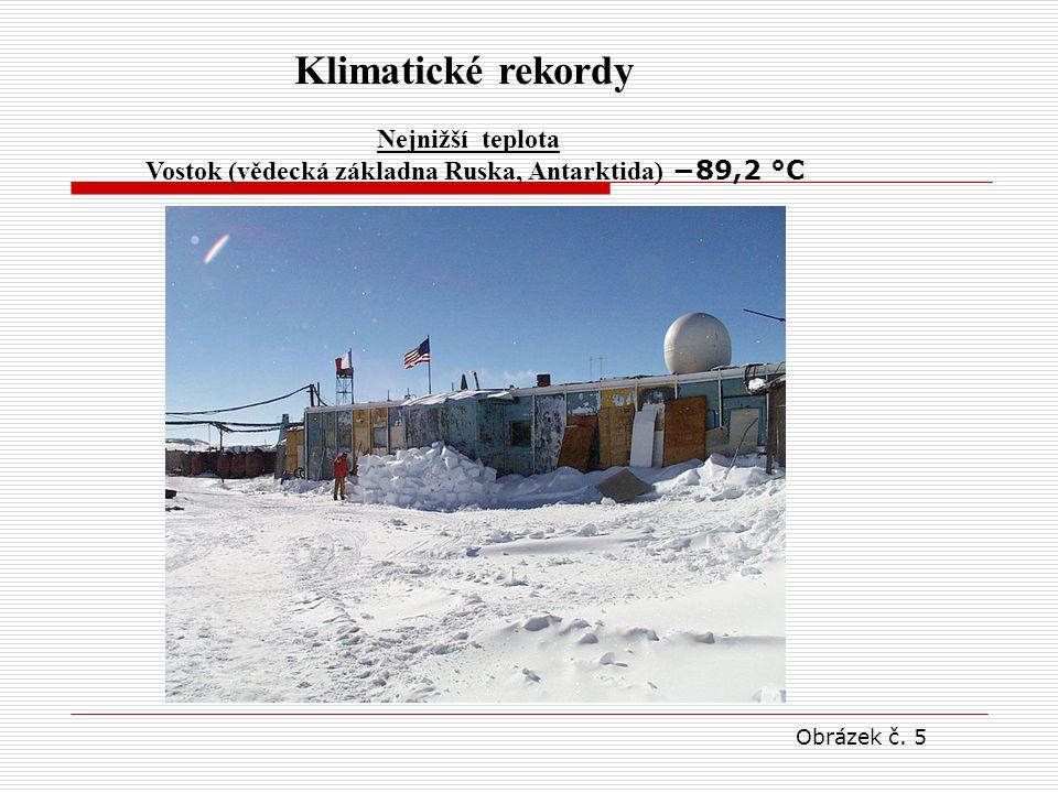 Klimatické rekordy Nejnižší teplota Vostok (vědecká základna Ruska, Antarktida) −89,2 °C Obrázek č. 5
