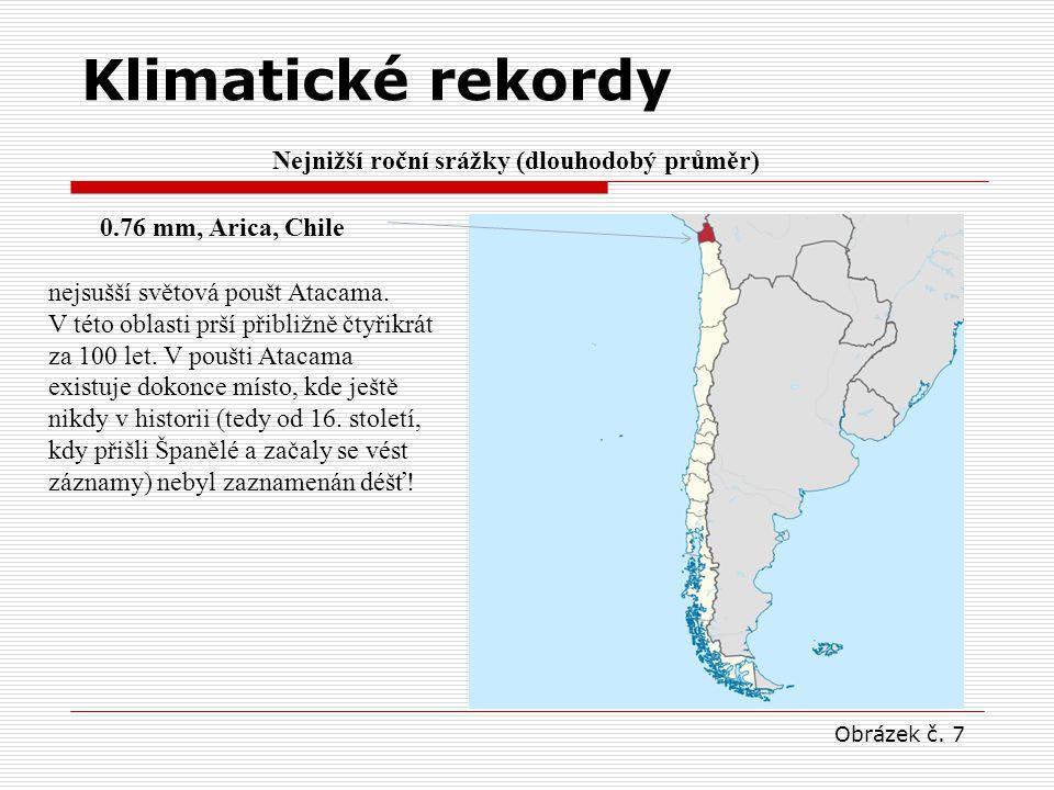Nejnižší roční srážky (dlouhodobý průměr) 0.76 mm, Arica, Chile nejsušší světová poušt Atacama. V této oblasti prší přibližně čtyřikrát za 100 let. V