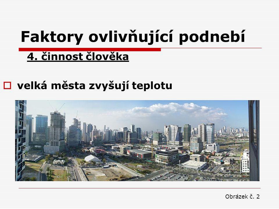 Faktory ovlivňující podnebí 4. činnost člověka  velká města zvyšují teplotu Obrázek č. 2