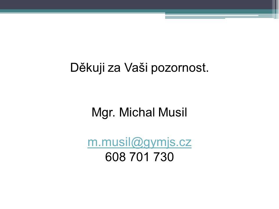 Děkuji za Vaši pozornost. Mgr. Michal Musil m.musil@gymjs.cz 608 701 730