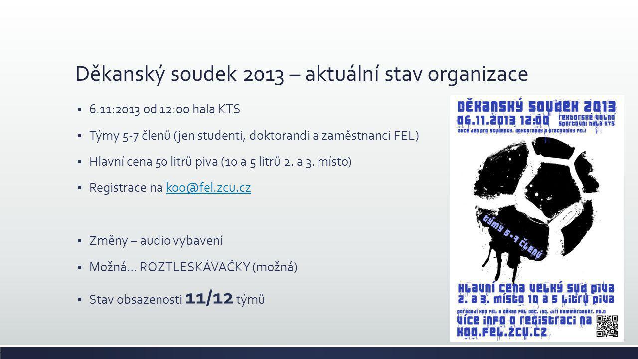 Děkanský soudek 2013 – aktuální stav organizace  6.11:2013 od 12:00 hala KTS  Týmy 5-7 členů (jen studenti, doktorandi a zaměstnanci FEL)  Hlavní c