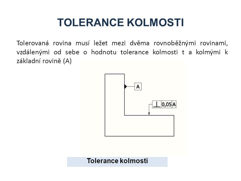 TOLERANCE KOLMOSTI Tolerovaná rovina musí ležet mezi dvěma rovnoběžnými rovinami, vzdálenými od sebe o hodnotu tolerance kolmosti t a kolmými k základní rovině (A) Tolerance kolmosti