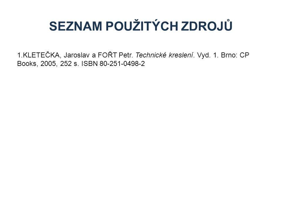 1.KLETEČKA, Jaroslav a FOŘT Petr. Technické kreslení. Vyd. 1. Brno: CP Books, 2005, 252 s. ISBN 80-251-0498-2 SEZNAM POUŽITÝCH ZDROJŮ