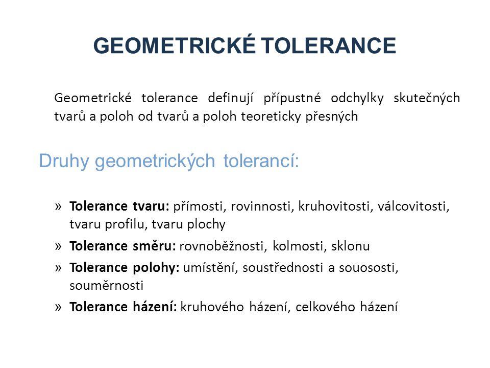 GEOMETRICKÉ TOLERANCE Geometrické tolerance definují přípustné odchylky skutečných tvarů a poloh od tvarů a poloh teoreticky přesných Druhy geometrických tolerancí: » Tolerance tvaru: přímosti, rovinnosti, kruhovitosti, válcovitosti, tvaru profilu, tvaru plochy » Tolerance směru: rovnoběžnosti, kolmosti, sklonu » Tolerance polohy: umístění, soustřednosti a souososti, souměrnosti » Tolerance házení: kruhového házení, celkového házení