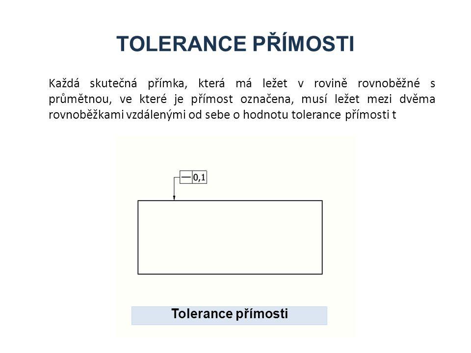 TOLERANCE PŘÍMOSTI Každá skutečná přímka, která má ležet v rovině rovnoběžné s průmětnou, ve které je přímost označena, musí ležet mezi dvěma rovnoběžkami vzdálenými od sebe o hodnotu tolerance přímosti t Tolerance přímosti