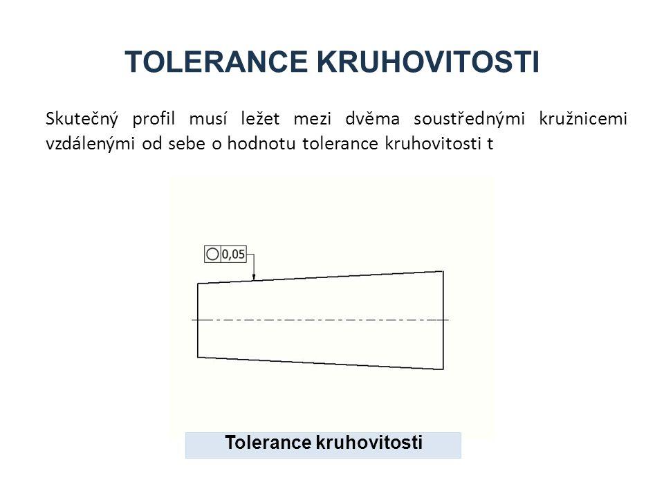 TOLERANCE KRUHOVITOSTI Skutečný profil musí ležet mezi dvěma soustřednými kružnicemi vzdálenými od sebe o hodnotu tolerance kruhovitosti t Tolerance k