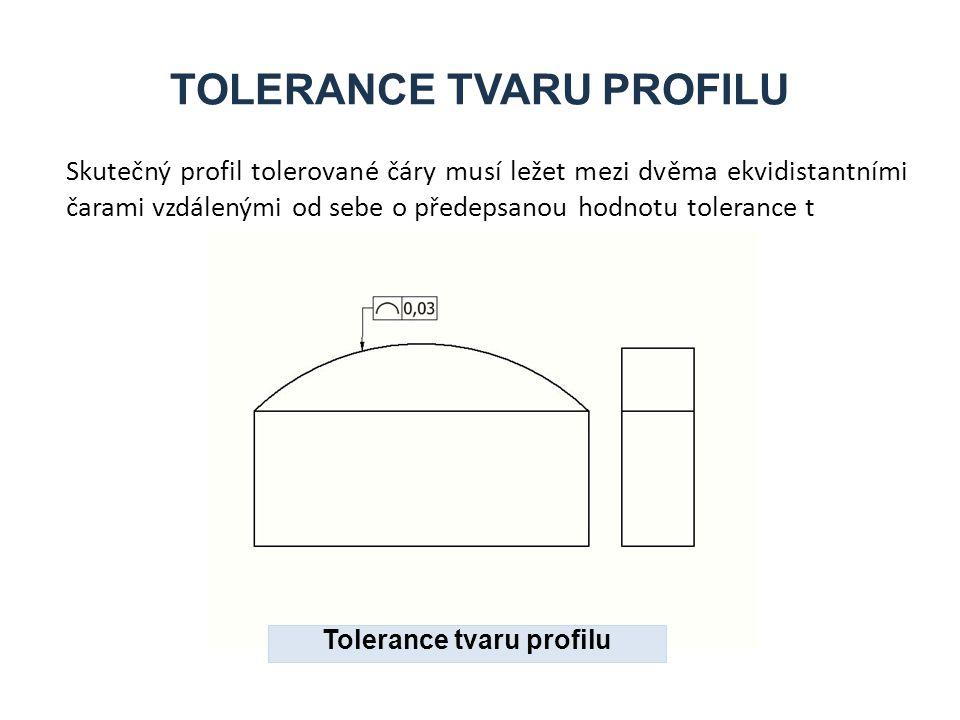 TOLERANCE TVARU PROFILU Skutečný profil tolerované čáry musí ležet mezi dvěma ekvidistantními čarami vzdálenými od sebe o předepsanou hodnotu tolerance t Tolerance tvaru profilu