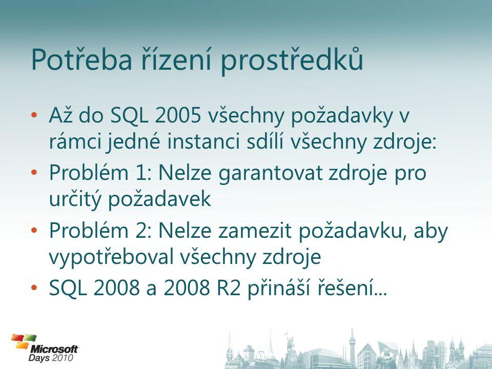 • Až do SQL 2005 všechny požadavky v rámci jedné instanci sdílí všechny zdroje: • Problém 1: Nelze garantovat zdroje pro určitý požadavek • Problém 2: