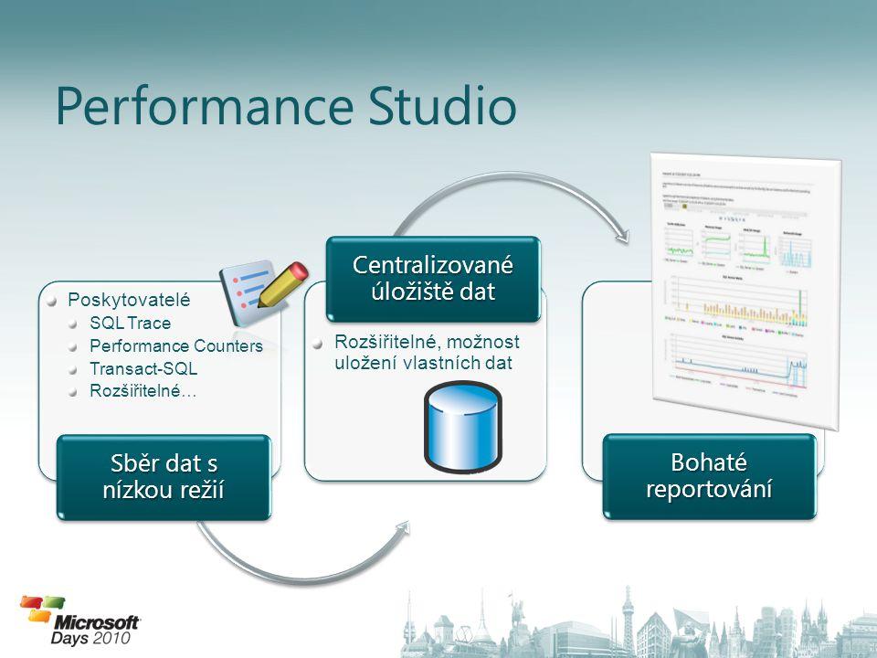 Performance Studio Poskytovatelé SQL Trace Performance Counters Transact-SQL Rozšiřitelné… Sběr dat s nízkou režií Rozšiřitelné, možnost uložení vlast