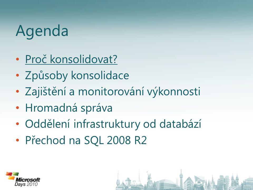 • Až do SQL 2005 všechny požadavky v rámci jedné instanci sdílí všechny zdroje: • Problém 1: Nelze garantovat zdroje pro určitý požadavek • Problém 2: Nelze zamezit požadavku, aby vypotřeboval všechny zdroje • SQL 2008 a 2008 R2 přináší řešení...