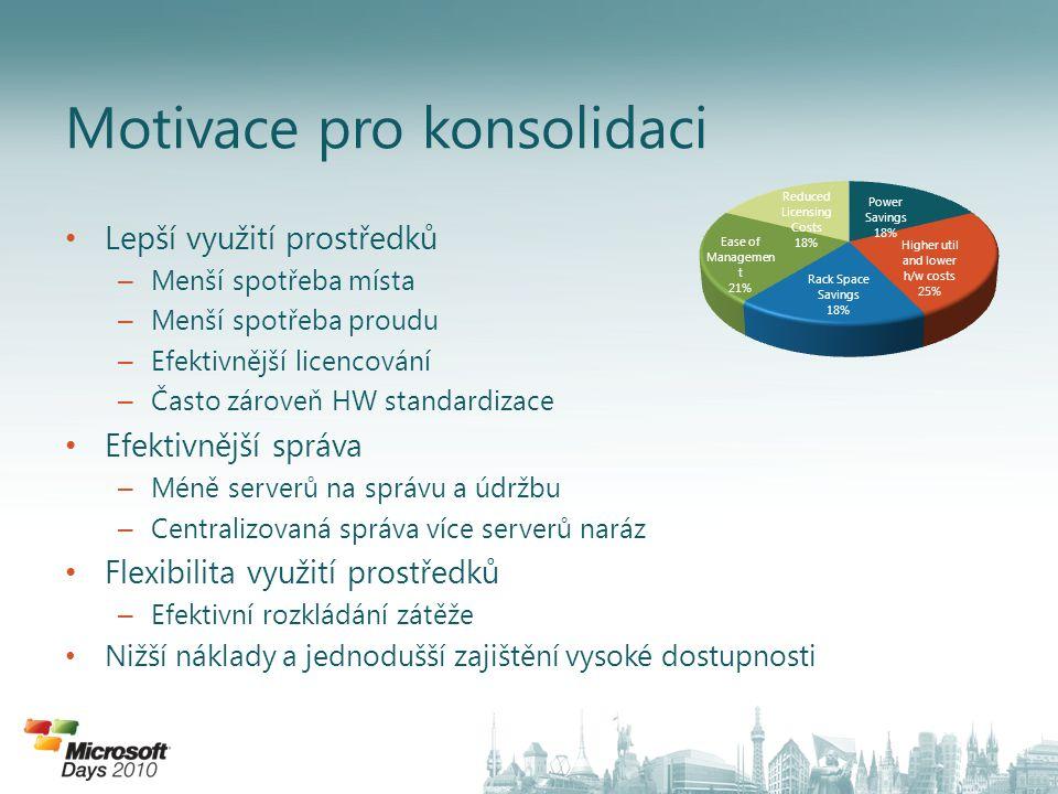 • Lepší využití prostředků – Menší spotřeba místa – Menší spotřeba proudu – Efektivnější licencování – Často zároveň HW standardizace • Efektivnější s
