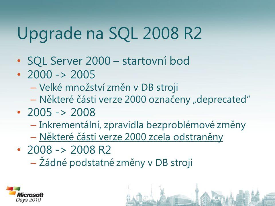 """• SQL Server 2000 – startovní bod • 2000 -> 2005 – Velké množství změn v DB stroji – Některé části verze 2000 označeny """"deprecated"""" • 2005 -> 2008 – I"""