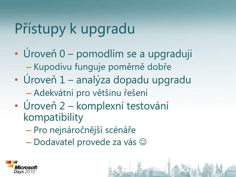 • Úroveň 0 – pomodlím se a upgraduji – Kupodivu funguje poměrně dobře • Úroveň 1 – analýza dopadu upgradu – Adekvátní pro většinu řešení • Úroveň 2 –