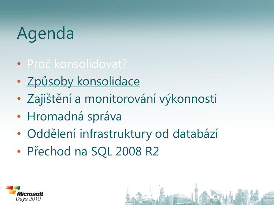 • Proč konsolidovat? • Způsoby konsolidace • Zajištění a monitorování výkonnosti • Hromadná správa • Oddělení infrastruktury od databází • Přechod na