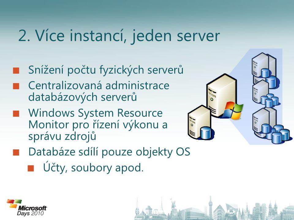 2. Více instancí, jeden server Snížení počtu fyzických serverů Centralizovaná administrace databázových serverů Windows System Resource Monitor pro ří