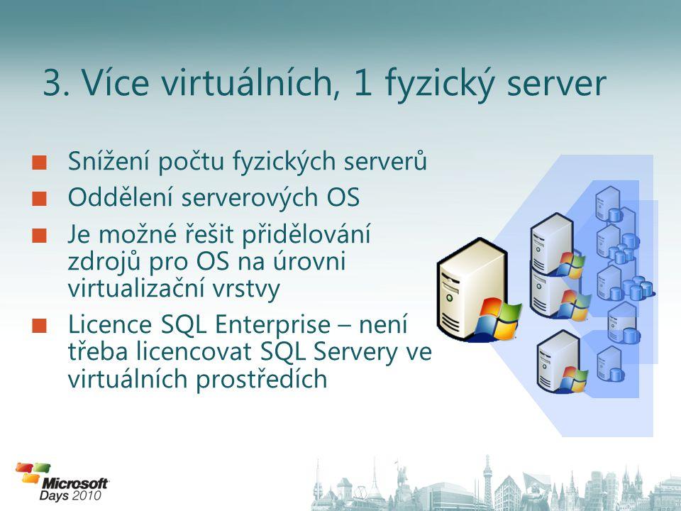 3. Více virtuálních, 1 fyzický server Snížení počtu fyzických serverů Oddělení serverových OS Je možné řešit přidělování zdrojů pro OS na úrovni virtu