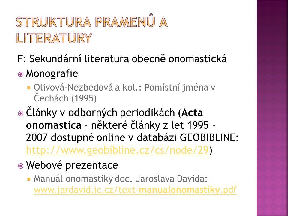 F: Sekundární literatura obecně onomastická  Monografie  Olivová-Nezbedová a kol.: Pomístní jména v Čechách (1995)  Články v odborných periodikách