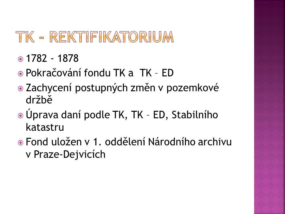  1782 - 1878  Pokračování fondu TK a TK – ED  Zachycení postupných změn v pozemkové držbě  Úprava daní podle TK, TK – ED, Stabilního katastru  Fo