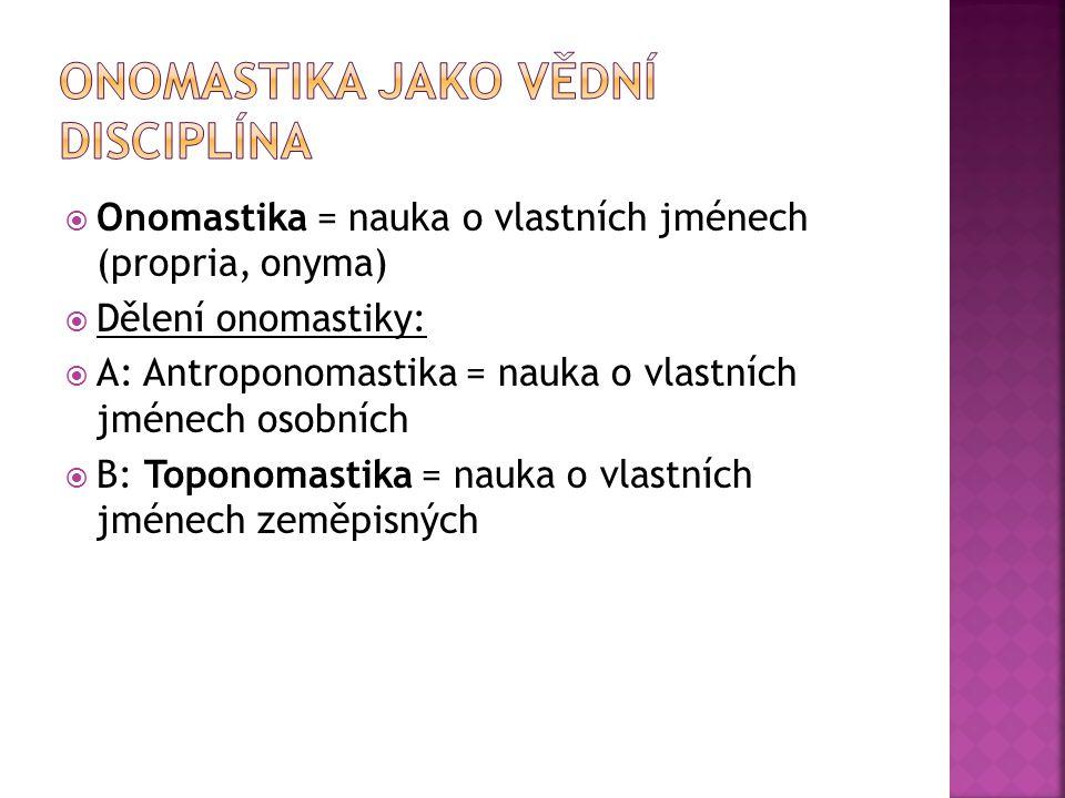  Onomastika = nauka o vlastních jménech (propria, onyma)  Dělení onomastiky:  A: Antroponomastika = nauka o vlastních jménech osobních  B: Toponom