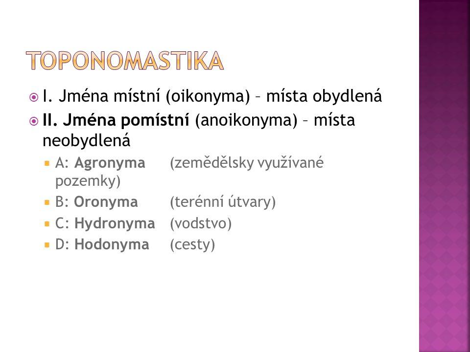 I. Jména místní (oikonyma) – místa obydlená  II. Jména pomístní (anoikonyma) – místa neobydlená  A: Agronyma (zemědělsky využívané pozemky)  B: O
