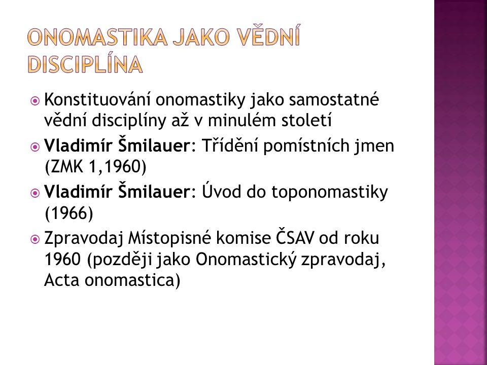  Konstituování onomastiky jako samostatné vědní disciplíny až v minulém století  Vladimír Šmilauer: Třídění pomístních jmen (ZMK 1,1960)  Vladimír