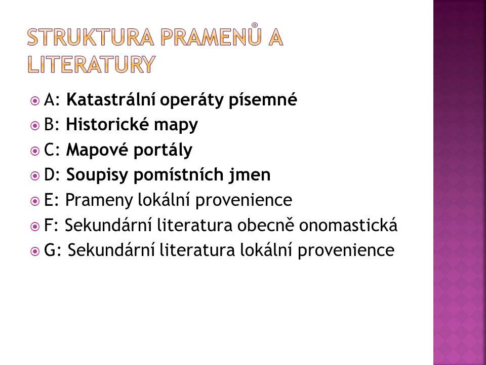 A: Katastrální operáty písemné:  1.Tereziánský katastr (1713 – 1790)  2.