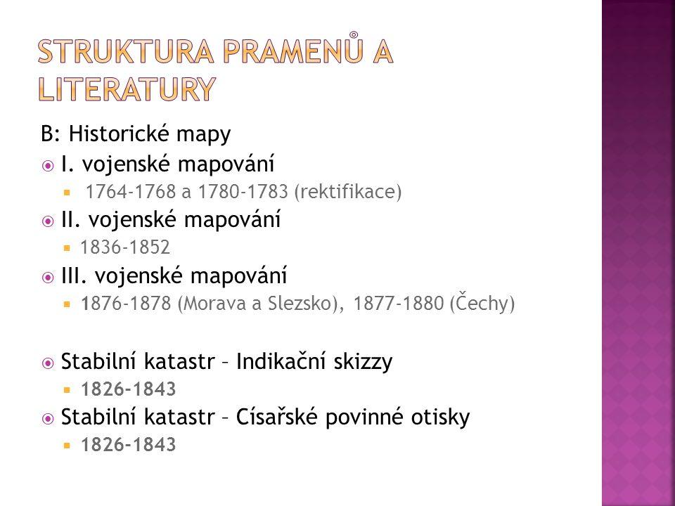 C: Mapové portály  Národní geoportál INSPIRE  Geoportál Českého úřadu zeměměřického a katastrálního  Portál Oldmaps UJEP v Ústí nad Labem