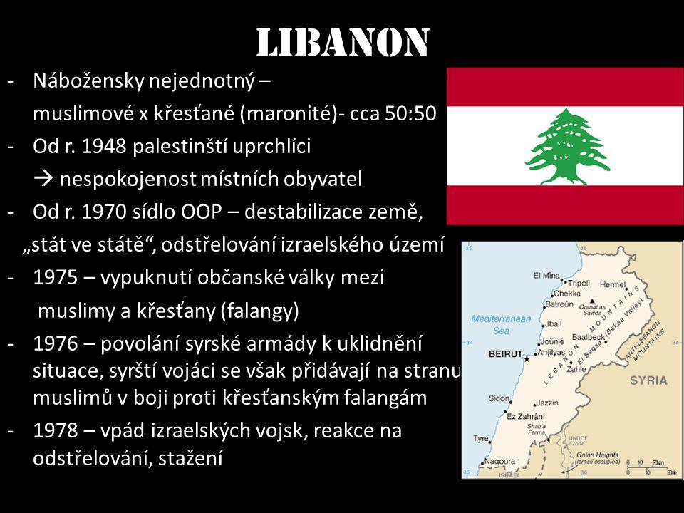 Libanon -Nábožensky nejednotný – muslimové x křesťané (maronité)- cca 50:50 -Od r. 1948 palestinští uprchlíci  nespokojenost místních obyvatel -Od r.