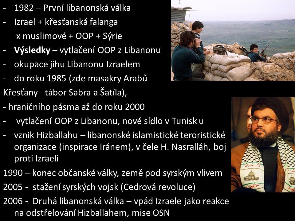 -1982 – První libanonská válka -Izrael + křesťanská falanga x muslimové + OOP + Sýrie -Výsledky – vytlačení OOP z Libanonu -okupace jihu Libanonu Izra