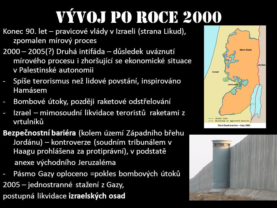 Vývoj po roce 2000 Konec 90. let – pravicové vlády v Izraeli (strana Likud), zpomalen mírový proces 2000 – 2005(?) Druhá intifáda – důsledek uváznutí