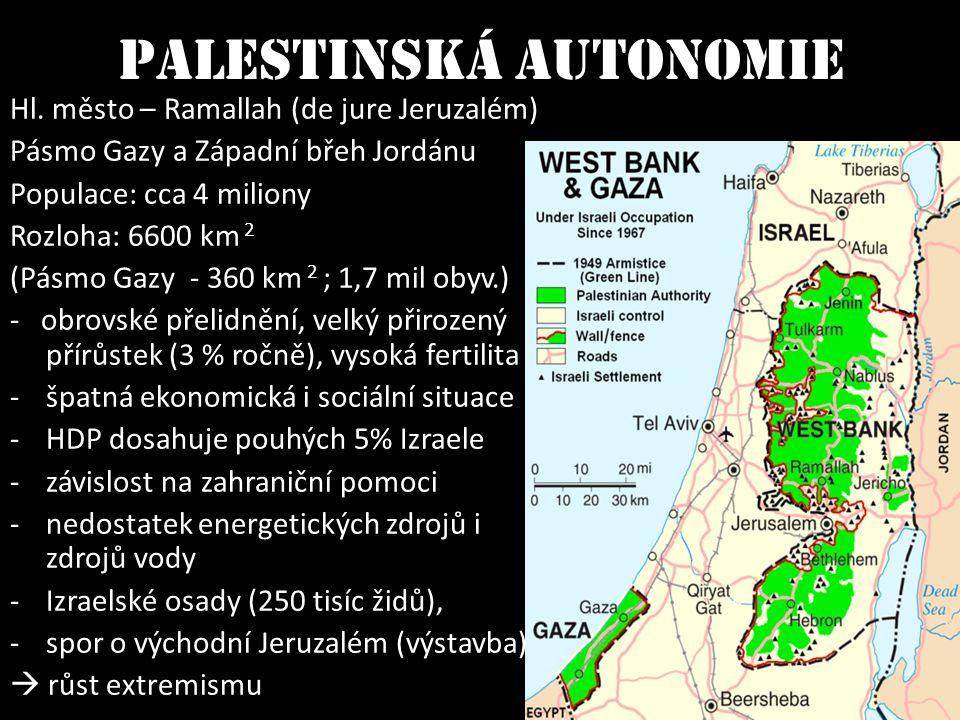 Palestinská autonomie Hl. město – Ramallah (de jure Jeruzalém) Pásmo Gazy a Západní břeh Jordánu Populace: cca 4 miliony Rozloha: 6600 km 2 (Pásmo Gaz
