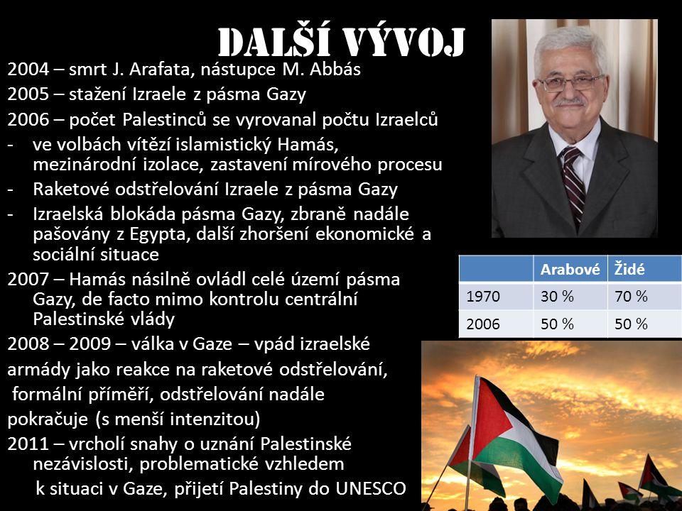 Další vývoj 2004 – smrt J. Arafata, nástupce M. Abbás 2005 – stažení Izraele z pásma Gazy 2006 – počet Palestinců se vyrovanal počtu Izraelců - ve vol